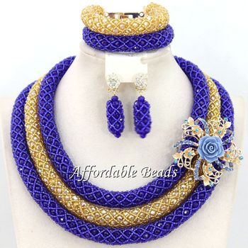 Latest African Crystal Beads Women Jewelry Set Beautiful Handmade African Wedding Jewelry Set Unique Design Free Shipping BN580