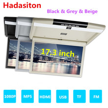 """17.3"""" TFT LED screen FHD1080P Car monitor Roof Mount Monitor Flip Down MP5 Player support HDMI/USB/TF/FM/IR/Built in Speaker"""