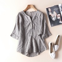 Women Striped Shirts 2019 Summer New Short Sleeve Casual Blouses Linen Japanese Blouse Loose Vintage Simple Top Wear for lady