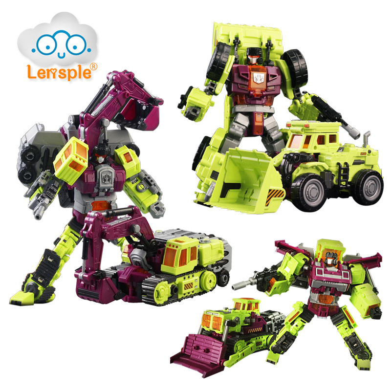 Lensple Transformation Robots NBK ko Bulldozer Excavator Scraper Forklift Action Figures Robot Toys Birthday Gifts For Kids 7 pcs set with original package transformation robot cars and prime toys action figures classic toys for kids christmas gifts