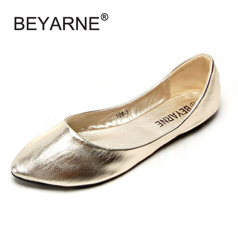Fashion Metallic Pu Pointed Toe Women Flats Concise Shallow Mouth Slip-on Flats For Women Ladies Casual Flat Ballerinas Shoes pu pointed toe flats with eyelet strap