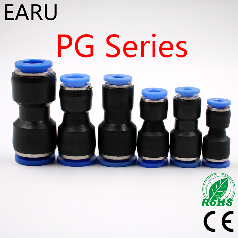 5PCS PG4-6 4-8 6-8 6-10 8-10 8-12 10-12mm Straight Union Reducer Fitting Pneumatic Push to Connect Air Connector Socket Plug 10 pcs lot pu1 4 pu 6 6mm to 6mm straight connectors pneumatic fitting pneumatic air connector push in quick joint connect