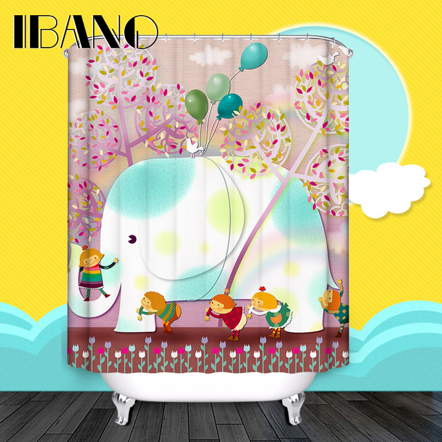 Animal Shower Curtain Elephant Pattern Customized Shower Curtain Waterproof  Polyester Fabric Shower Curtain For Bathroom