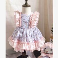2019 Summer Spanish Lolita Dress Catoon Embroidery Vintage Gown Birthdays Party Princess Dress Modis Kids Clothes Vestidos Y1601