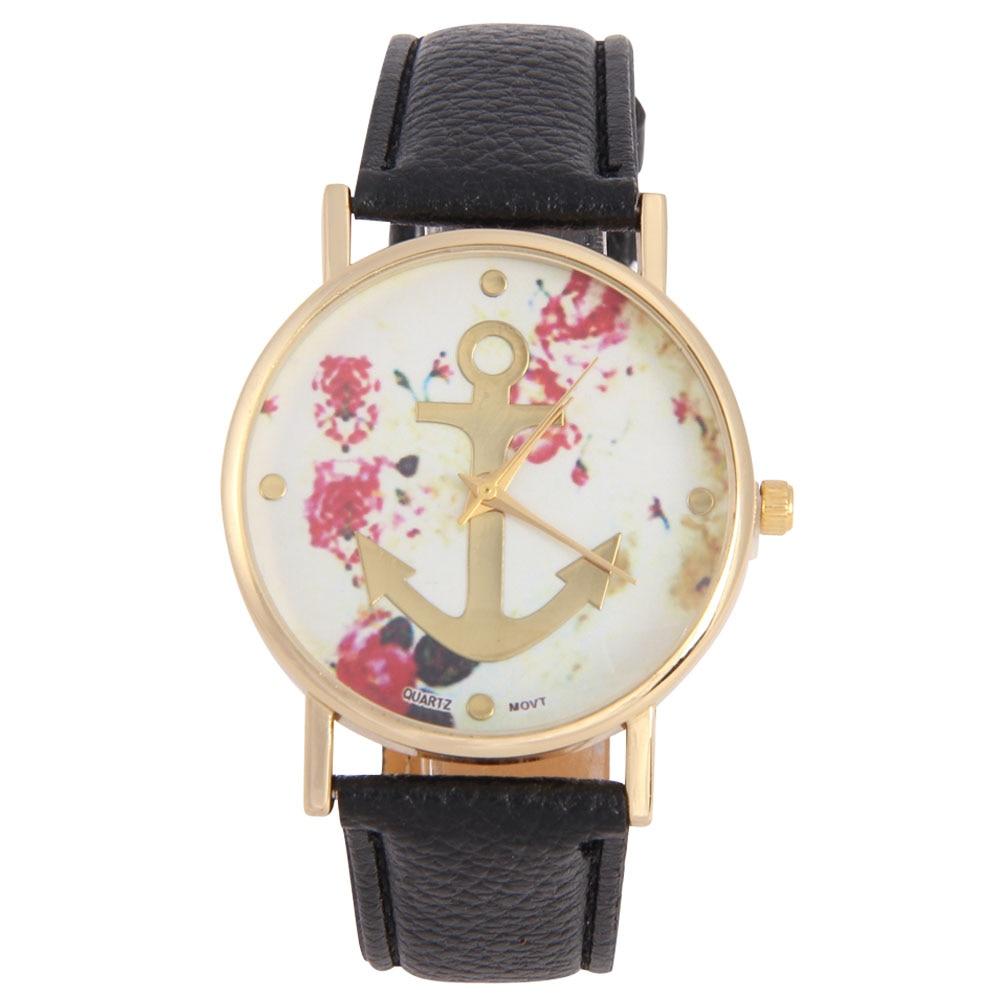 240fd7f3937e Moda relojes hombres reloj de cuarzo analógico pu marca de cuero floral  impreso ancla relojes mujeres vestido reloj Relogio feminino