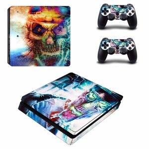 Image 2 - Punisher PS4 Slim cilt Sticker Sony PlayStation 4 konsolu ve 2 kontrolörleri için PS4 İnce Skins Sticker çıkartması
