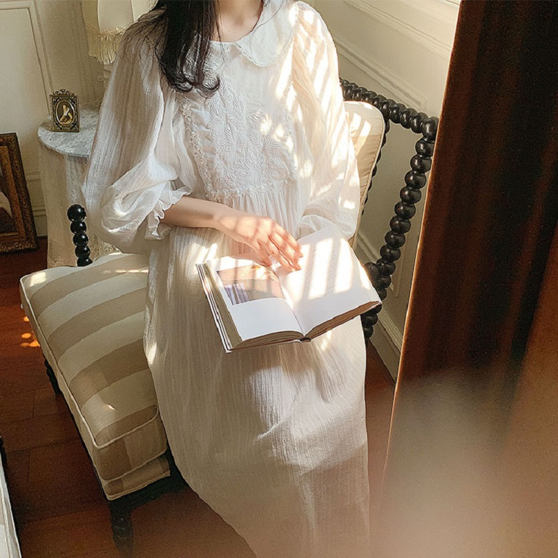 Vintage Embroidery White Cotton Women's Long Nightgowns Sweet Floral Sleepwear Elegant Female Spring Autumn Night Dress