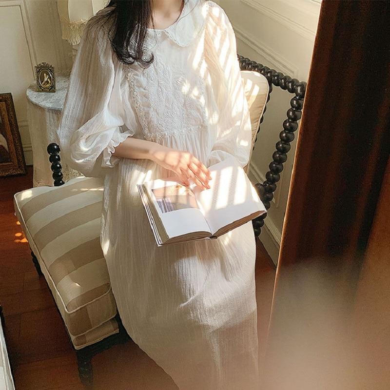Vintage Embroidery White Cotton Women's Long Nightgowns Sweet Floral Sleepwear Elegant Female Spring Autumn Night Dress