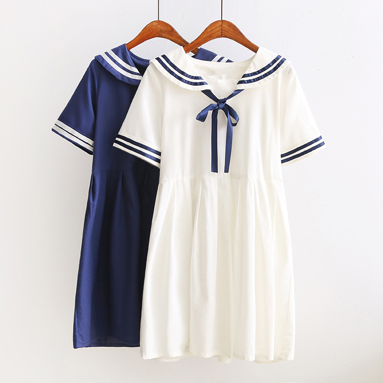 New Japanese Preppy Style Lolita Dress Cosplay Costume Navy Style Sailor Bow Dress Women White Lolita Dress
