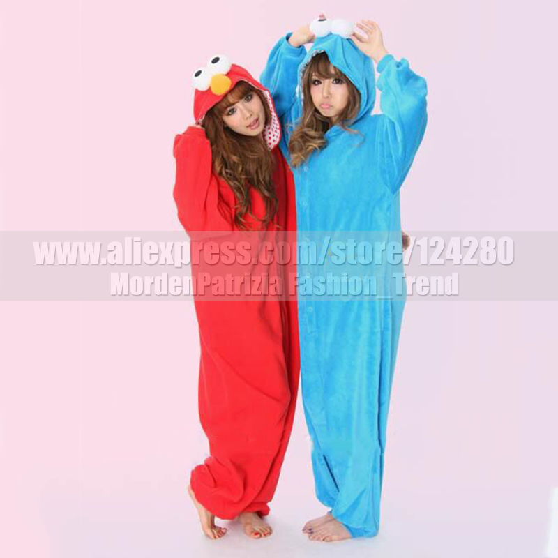 polaire rue de ssame rouge elmo cookie monster onesies costume de bande dessine adulte cosplay pyjamas