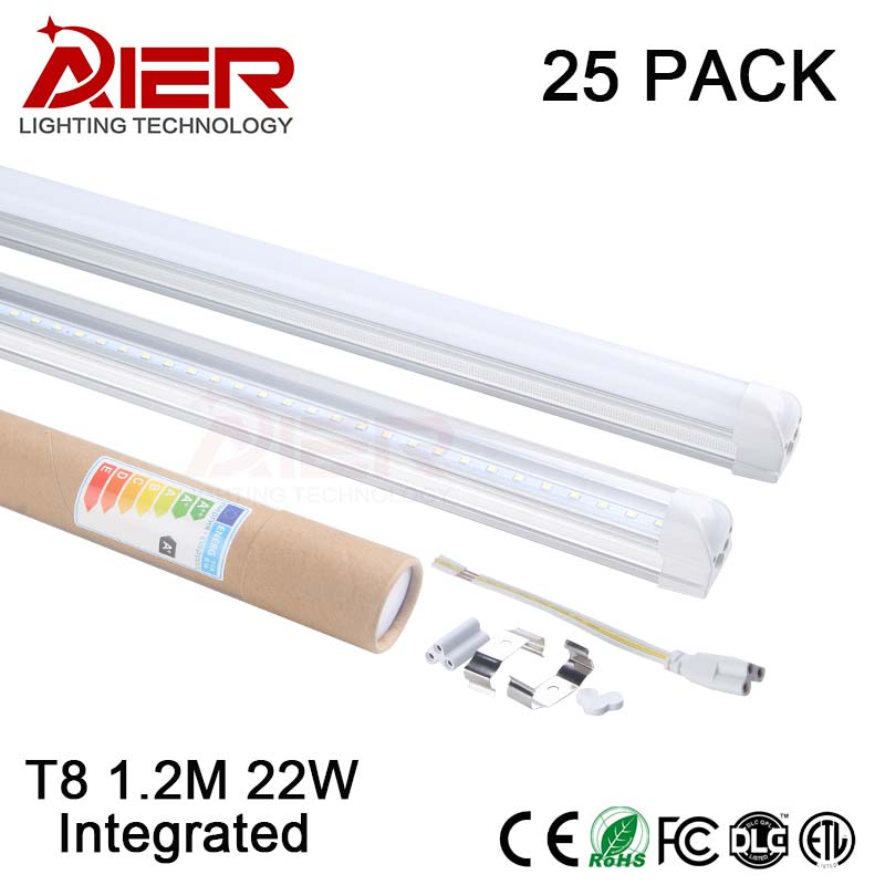 new 22w <font><b>led</b></font> tube light <font><b>1200mm</b></font> t8 integrated tube AC85-265V free shipping 25pcs/lot
