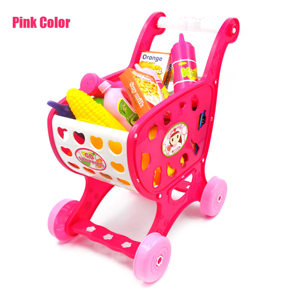 Small 28Pcs Childrens Kids Shopping Trolley Cart Role Playing Toy Plastic Fruit