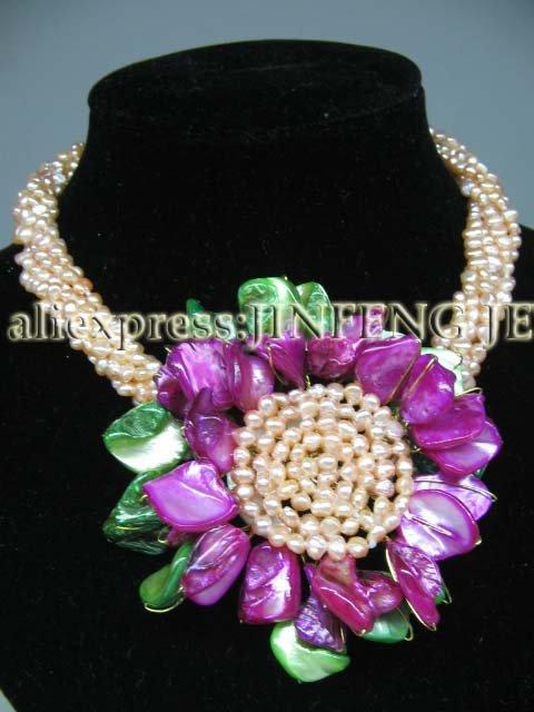 Collier en perles d'eau douce et coquillages véritable 6 Strds livraison gratuite