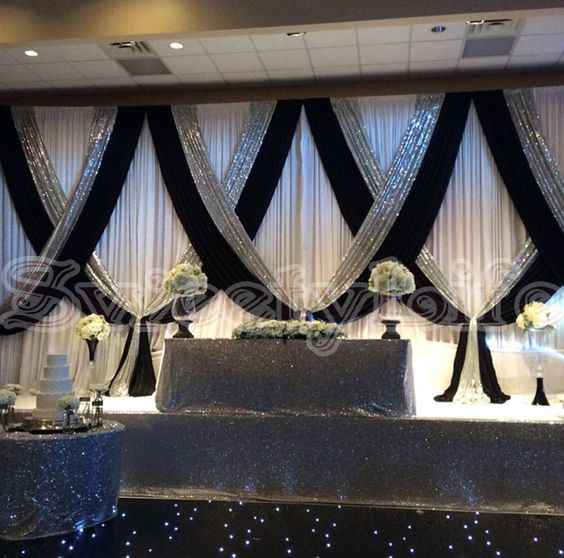 Free Shipping 10ft x 22ft White Wedding Backdrop Curtain With Black Color And Silver Sequin Fabric Drape Swag For DecorationFree Shipping 10ft x 22ft White Wedding Backdrop Curtain With Black Color And Silver Sequin Fabric Drape Swag For Decoration
