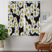 Blackout Curtains Darkening 2 Panels Grommet Window Curtain for Bedroom Beautiful White Daisies Plants Flowers Chrysanthemum