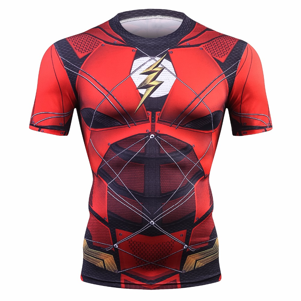 Avengers 3 Short Sleeve Compression Shirts Red Flash 3D Printed T Shirts Men 2018 Summer NEW Top For Male Fitness Cloth