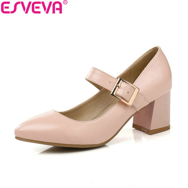 ESVEVA 2018 Women Pumps PU Square Heels Black Spring and Autumn Pointed Toe High Heels Buckle Strap Pumps Women Shoes Size 34-43