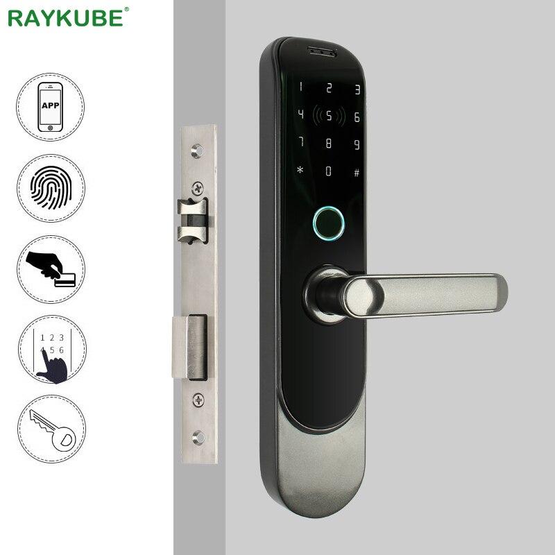 RAYKUBE DIY biométrico huella dactilar cerradura Digital tarjeta inteligente Bluetooth teléfono móvil aplicación cerrojo sin llave cerradura de mortaja R-FG4 Control de Acceso solenoide de montaje de liberación 12V 0.4A Puerta de cierre electrónico