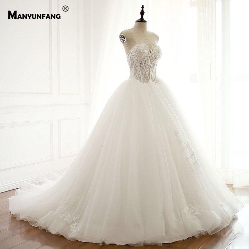 Dress Factory Sale Elegant Style Vestido De Noiva Manga Longa Sexy Neckline Brides Dresses For Weddings With Long Train