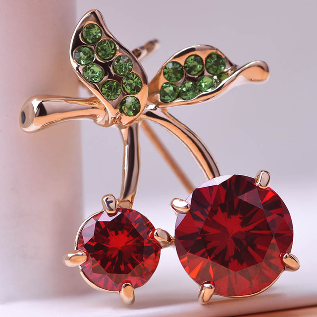 Red Cherry Gold Crystals Brooches
