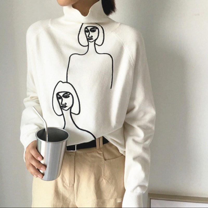 Korean Women 2019 Autumn Winter Sweaters Cartoon Print Female Knitted Sweater And Pullovers Long Sleeve Turtleneck Mujer Sueter
