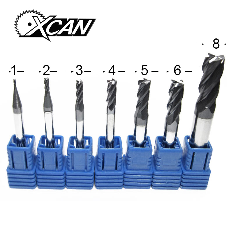 XCAN 7 Pieces Solid Carbide End Mills Metal Face milling cutter CNC Machine Tools End Milling Cutter yw1 4160511 zhuzhou zccct cemented carbide 30pcs box milling machine clip blade square face milling cutter for stainless steel
