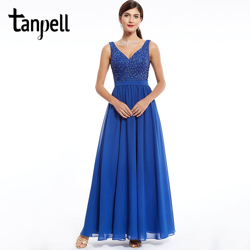 Tanpell beaded lace evening dress dark royal blue v neck sleeveless a line floor length dress