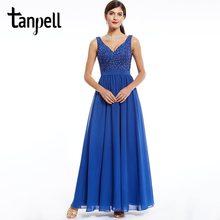 6e4a60d36d3 Tanpell beaded lace evening dress dark royal blue v neck sleeveless a line  floor length dress ladies graduation evening dresses