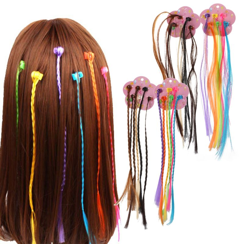 New Girls Colorful Wigs Ponytail Hair Ornament Hairpin Beauty Hair Clip Headwear Kids Hair Accessorie Oct20-a