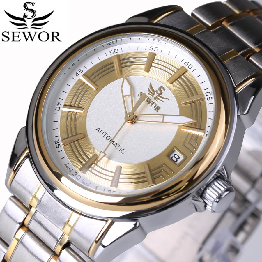 SEWOR 2016 luxury brand military clock stainless steel men casual automatic mechanical watch fashion dress calendar Watches