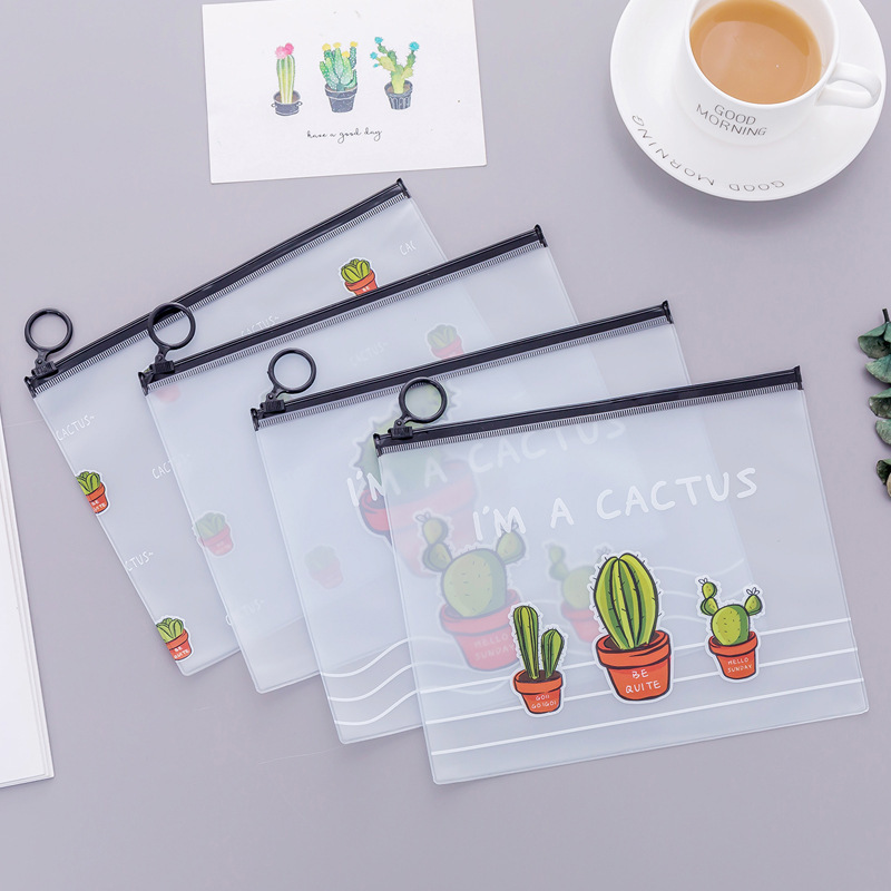 Cactus Zipper Transparent PVC A5 File Folder Document Filing Bag Traveler's Diary Accessory Tickets Cards Storage Bag
