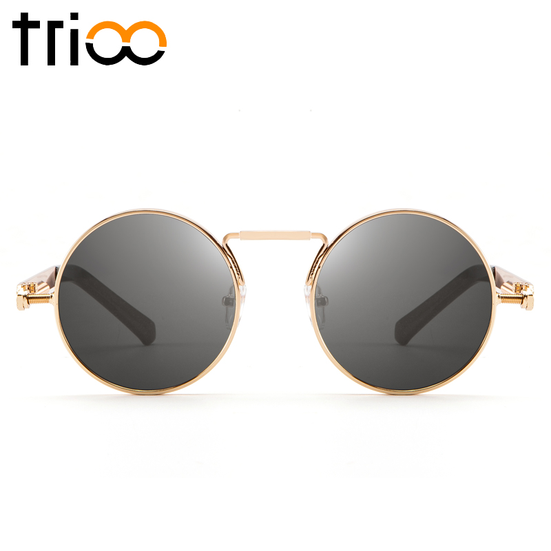 TRIOO Gothic Round Women Sunglasses Retro Round Eyewear Sun Glasses Vintage Circle Shades Female 2018 Cool Ladies Oculos