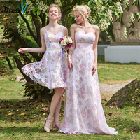 Dressv Spaghetti Straps Bridesmaid Dress Knee Length A line Print Sashes Ribbons Formal Wedding Party Dress Bridesmaid Dress