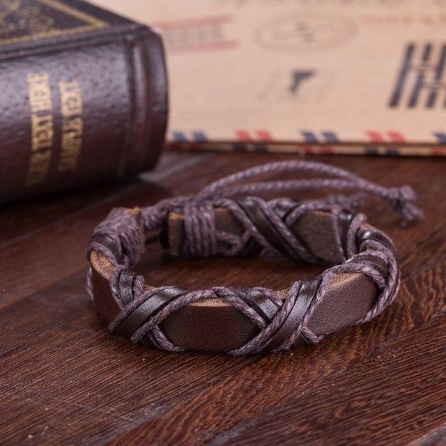 Bracelet reliure en cuir  noir/marron  3