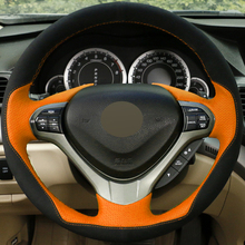 DG DIY Hand-stitched Car Steering Wheel Cover Black Suede Orange Leather for Honda Spirior OId Accord