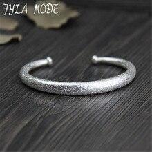 Fyla Mode 999 Thai Silver Bracelets Bangle Unisex Style Noble Dignity Dull Polished Finished Bracelet Bangle For Women Men