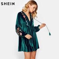 SHEIN Long Sleeve Women Dress Tasseled Tie Bishop Sleeve Embroidery Velvet Straight Dress Green Deep V