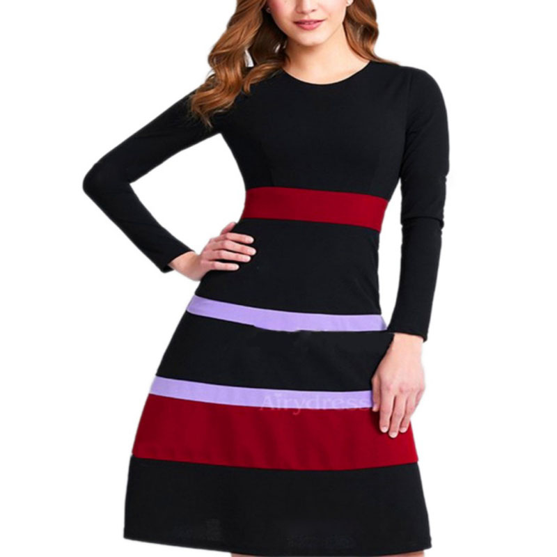2018 Black Vintage Striped Contrast Patchwork Causal vestidos Half Sleeve A-Line Business Women Flare Dress