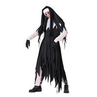 Halloween Adult Women Gothic Ghost Witch Costume Horror Black Dress Gown Robe Clothes For Ladies