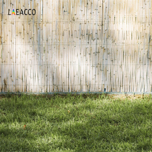 Laeacco Green Grass Bamboo Boards Wall Child Scenic Photography Backgrounds Customized  Photographic Backdrops For Photo Studio
