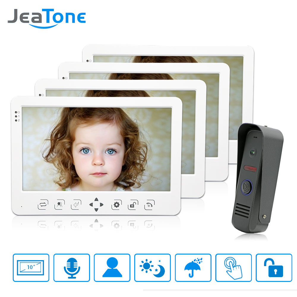 JeaTone 10 Color Video Door Phone Video Intercom Door Unlock IR Night Vision Camera White Monitor Home Apartment Kit 1200TVL jeatone 10 hd wired video doorphone intercom kit 3 silver monitor doorbell with 2 ir night vision 2 8mm lens outdoor cameras