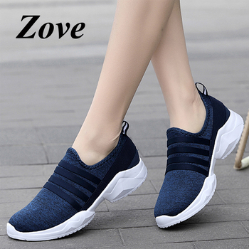 ZOVE Women Flats Sneakers Shoes 2019 Summer Fashion Slip On Loafers Breathable Knit Mesh Walk Flat Shoes Ladies Shoes chaussure