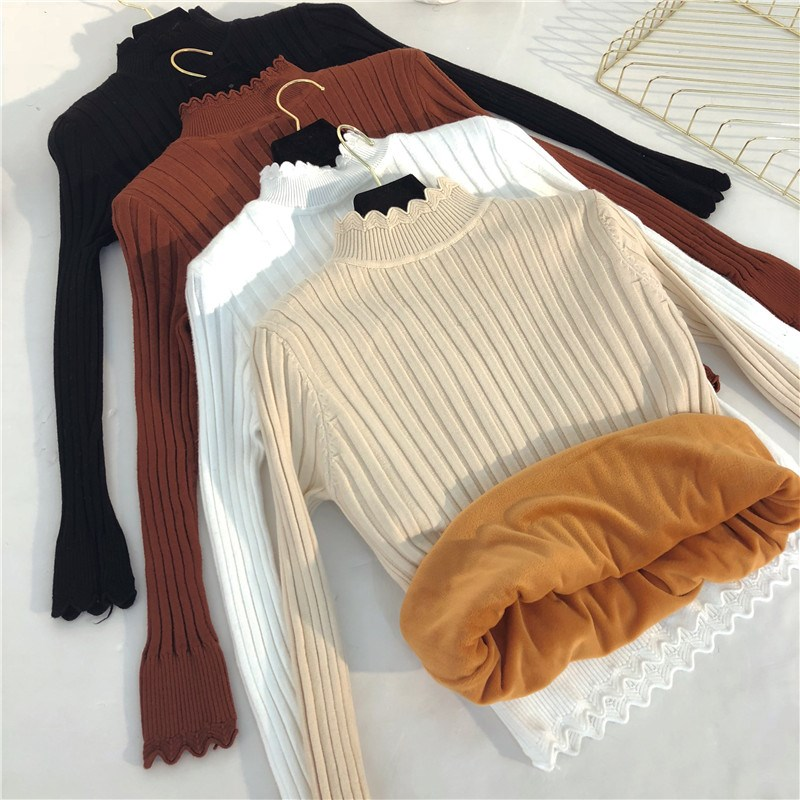 Winter New Half Turtleneck Women Short Knit Sweater Pullover Plus Velvet Thicken Bottom Sweater Casual Female Jumper Tops Y62(China)