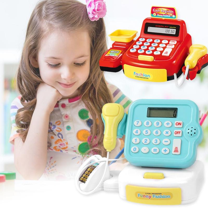 19pcs Mini Simulated Supermarket Checkout Counter Role Parent Child Interaction Role Playing Cool LightingCashier Cash Register