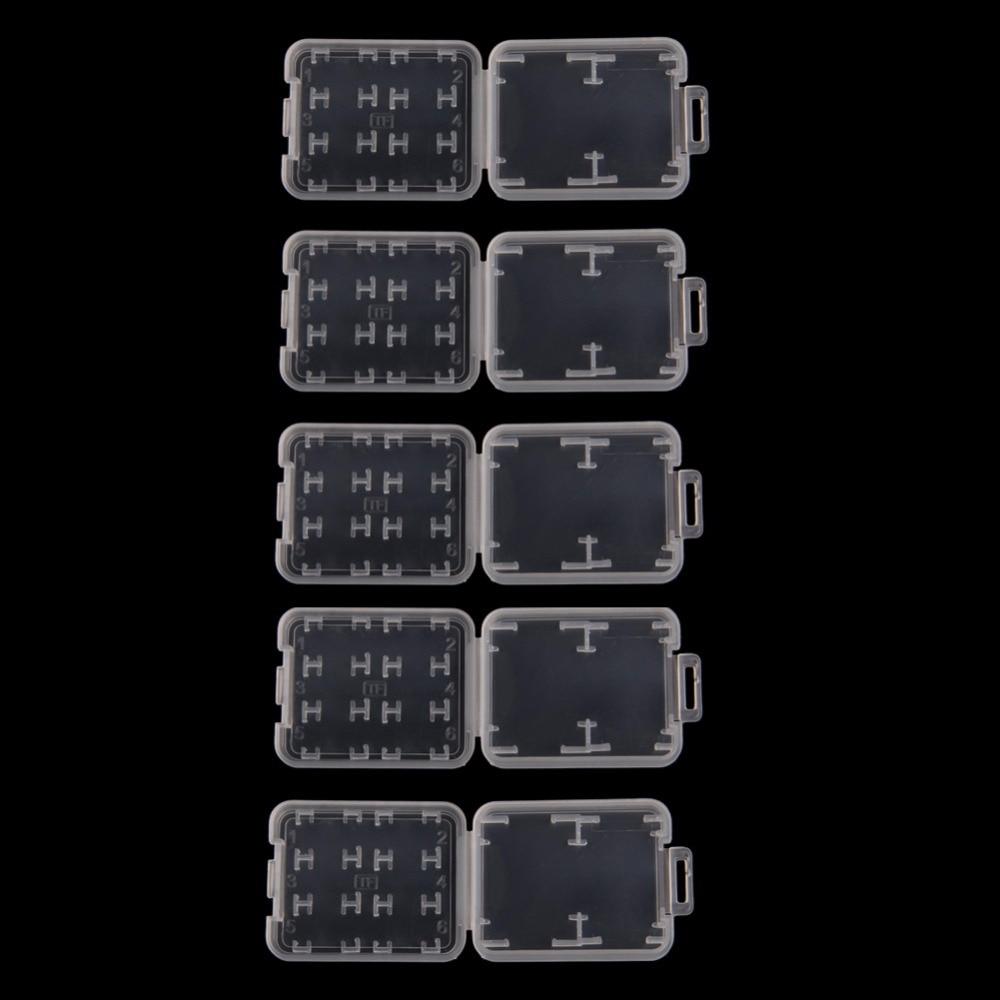 Plastic Transparent Standard SD SDHC Memory Card Case Holder Box Storage #01send 10pcs  #02send  5pcs