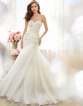 Free Shipping Fashionable Trumpet Sweetheart Corset Back Sweep Train Organza Indian Style Wedding Dress With Appliques Y11573