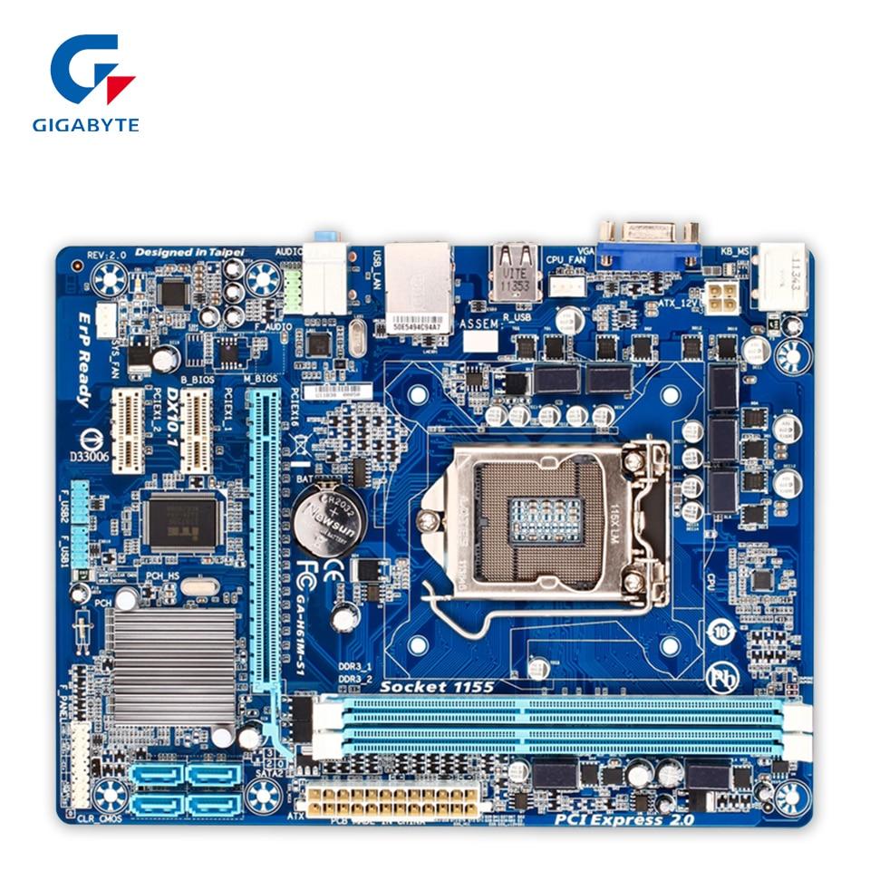 Gigabyte GA-H61M-S1 Desktop Motherboard H61M-S1 H61 LGA 1155 Core I7 I5 I3 DDR3 16G SATA2 USB2.0 VGA Micro-ATX