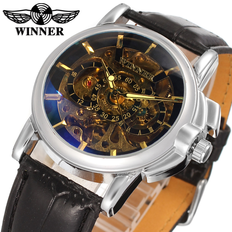 цена на Hot Sale Winner WRG8032M3S1 Automatic dress skeleton watch casual wristwatch for men top quality best gift free shipping