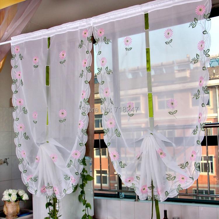 Vezon sale elegant embroidery daisy ballon curtain ready for Cortinas cocina confeccionadas