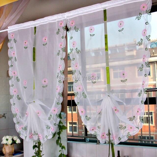 vezon sale elegant embroidery daisy ballon curtain ready made floral
